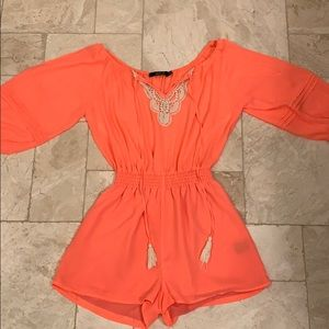 Fun neon lace romper